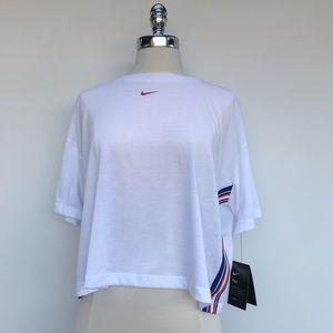 NIKE-Sportwear Crop Top Loose Fit Blue/Red/White